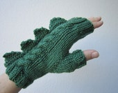Dragon, dinosaur, crocodile, godzilla or  monster dark green  fingerless mittens, Australian soft pure wool
