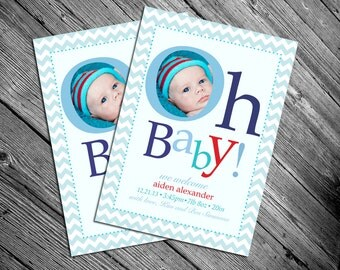 Oh Baby - Baby Boy Birth Announcement