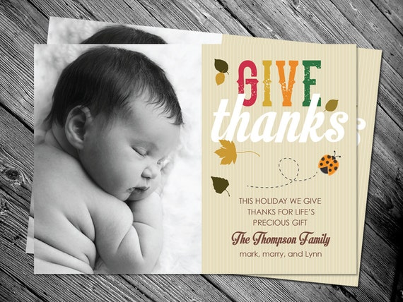 give thanks autumn fall birth announcement