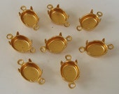 Brass Settings - 10x8mm Prong Settings Oval Two Rings.