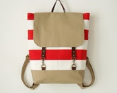 Red stripe canvas backpack, laptop backpack, school bag with leather closures, 2 front pockets, Design by BagyBags