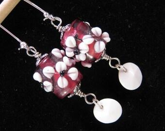 Vintage Earrings, Lampwork, Glass, Hand Made, Pink, Silver, White, Hand Wired, Jennifer Jones, Upcycled, Pierced, OOAK - Flower Girl
