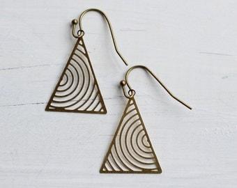 Industrial Triangle Earrings ... Vintage Geometric Golden Earrings