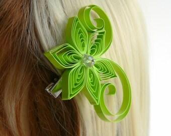 Lime Green Wedding Hair Clip, Lime Wedding Hair Accessory