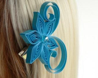 Blue Flower Hair Accessories, Malibu Blue Wedding Hair Clip, Malibu Wedding Hair Accessory