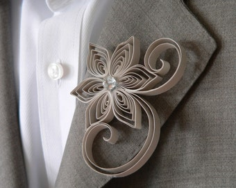 Ecru Boutonniere, Tan Buttonhole, Ecru Wedding Boutonniere, Mens Wedding Boutonnieres, Sand Wedding