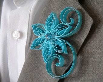 Aqua Boutonniere, Aquamarine Buttonhole, Aqua Wedding Boutonniere, Sky Blue Wedding