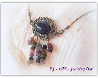 SALE birthstone necklace gemstone necklace october birthstone necklace tourmaline necklace black onyx pendant necklace watermelon tourmaline