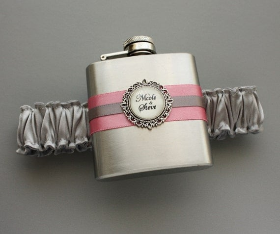 Personalized FLASK GARTER -  Gray and Pink (Other Colors Available) - Bridal Wedding Garter with Flask - Gift for Her