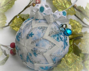 Snowflake Christmas Ornament Decoration blue Christmas quilted ornament