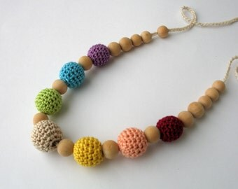 CLEARANCE SALE - Colorful Cotton Wooden Nursing Necklace - Crochet Necklace for mom and child - Teething Necklace