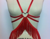 Heart burlesque body harness with elastic and fringe