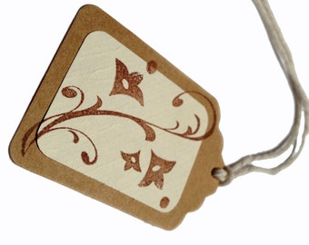 10 Floral Scroll Stamped Kraft Gift Tags, All Repurposed, Recycled Materials, Hand Punched, Hand Stamped