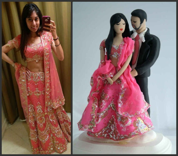 indian wedding cake toppers bride and groom uk indian wedding cake topper customized to your features and 16425