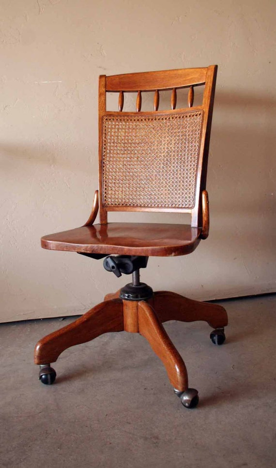 beautiful vintage wooden banker 39 s chair swivel seat