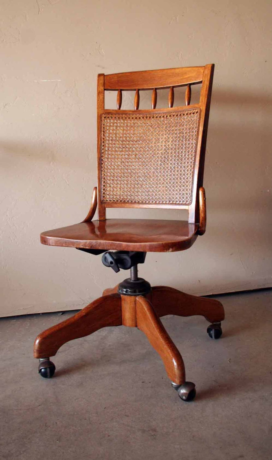 Beautiful Vintage Wooden Banker S Chair Swivel By