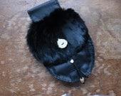 Rabbit Fur, Deer Skin & Suede Leather Belt Pouch Sporran Black SCA LARP Renaissance