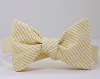 Yellow Seersucker Bow Tie