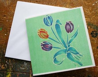 Spring Tulips Textile Design Greeting Card Vintage Handkerchief