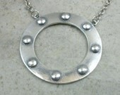 Fine Silver Hoop Necklace- Port Hole Necklace- Portal Jewelry- Eternity Necklace- Industrial Jewelry- Circle Necklace- Porthole Jewellry
