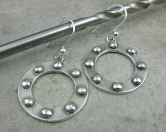 Fine Silver Hoop Earrings- Port Hole Earrings- Circle Earrings- Sci-Fi Jewelry- Silver Hoop Earings- Portal Earrings- Industrial Jewelry