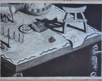 "Original Charcoal Drawing ""Religion Study"""
