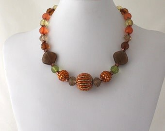 Vintage Style Choker//Orange, Yellow, Olive Green, Brown and Copper