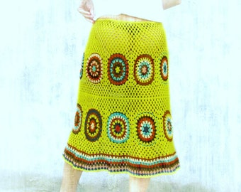kiwi green ...Handcrochet autumn colors skirt M/L/XL