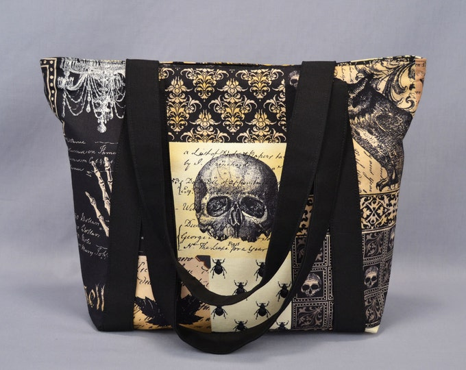 Zipper Tote Bag Nevermore Gothic Antique, Skulls Bats Owls, Black Sepia