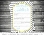 Instant Download Baby Shower Advice Card - Chevron, Blue, Yellow, Gray, Printable, Digital