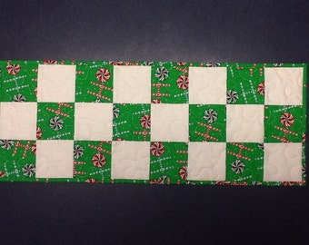 Quilted Christmas Candy Table Runner,  Red and Green Table Runner, Quiltsy Handmade