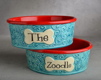 Dog Bowl Set Personalized Made To Order Curls Dog Bowls by Symmetrical Pottery