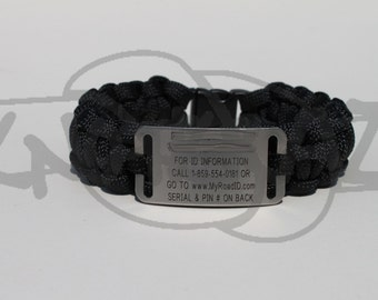 RoadID Replacement Band of 550 Paracord Survival Strap Bracelet with Plastic Contoured Side Release Buckle
