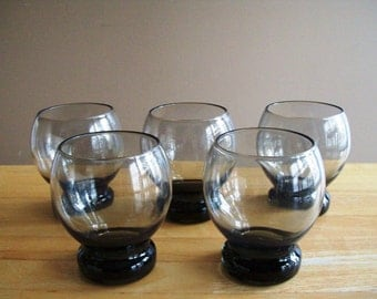 Mid Century Scandinavian Set of Five Smoke Grey Glassware