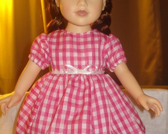 Pink and white checked full dress for 18 inch Dolls - ag185