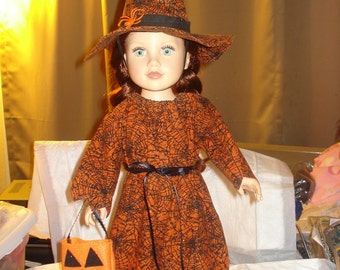 Fancy witches dress and hat in Halloween orange for 18 inch Dolls - ag193