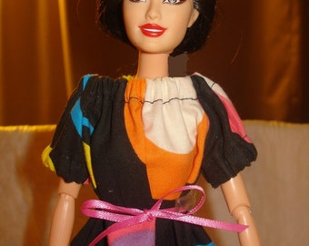 Fashion Doll Coordinates - Colorful circle print on black Peasant blouse - es244