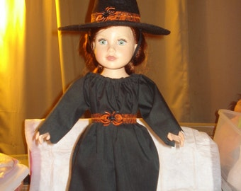 Gothic witch dress and hat set for 18 inch Dolls - ag200