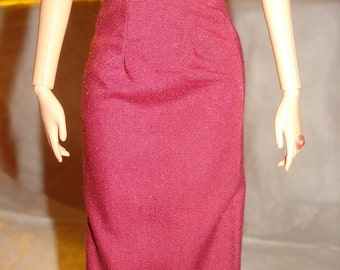 Fashion Doll Coordinates - Maroon wine colored a-line skirt - es237