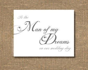 to the man of my dreams on our wedding day card stylish elegant thank