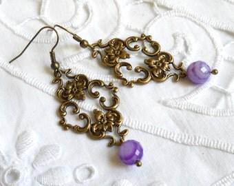 indigo agate earrings dangle earrings purple chandelier earrings agate earrings boho jewelry stone earrings