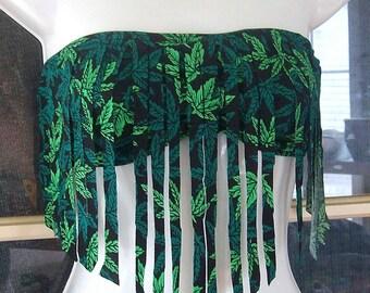 420 pot leaf fringe bandeau top