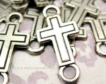 10 Antique Silver Finish Cross Shaped Connectors - 11mm x 23mm - Lead-Free Tibetan Silver - Christian, Worship, Jesus, Faith, Church, Prayer