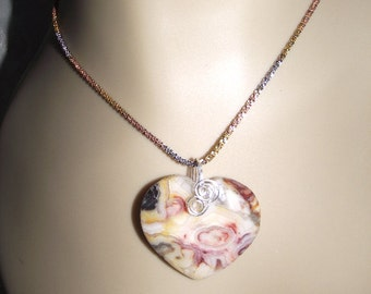 Heartshaped  Crazy Lace Agate Pendant