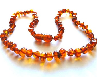 Baltic Amber Baby Teething Necklace Cognac Beads