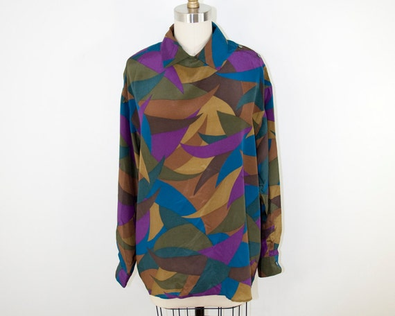 80s Vintage PERRY ELLIS Slouchy Silk Collar Blouse (M)