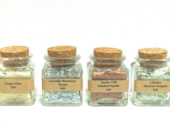 Sea Salt Gift Set-Gourmet Sea Salt Blends in Mini Square Jar with Cork, Finishing Salt, Seasoning Gift Set, Sea Salt Sampler Gift Box, Spice