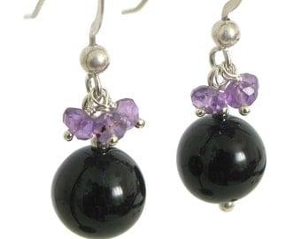 Black Tourmaline Earrings with Amethyst - in Sterling Silver, Black and Purple Earrings, Black Tourmaline Jewelr, Pretty Tourmaline Earring