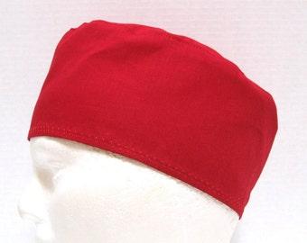 Mens Crimson Red Surgical Scrub Hat or Chefs Skull Cap
