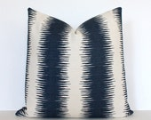 Striped Navy Designer Cushion Cover Accent Pillow suzani cream ivory Ikat stripe dark blue indigo